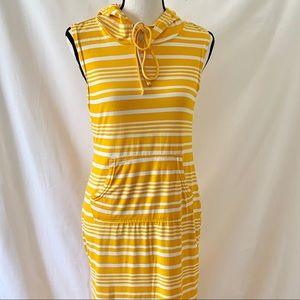 Yellow and White Striped Hooded Maxi Dress  Lg